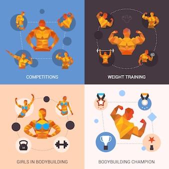 Bodybuilding veelhoekige set