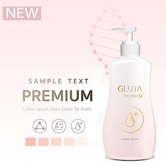 Bodylotion roze glutathione-verpakking met