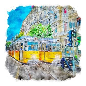 Boedapest hongarije aquarel schets hand getekende illustratie