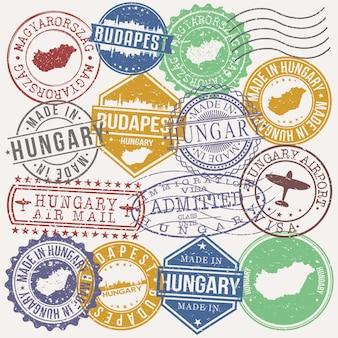 Boedapest hongarije set van reis en zakelijke stempels