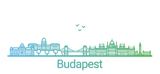 Boedapest stad kleurverloop lijn