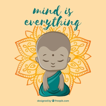 Boeddha achtergrond met citaat