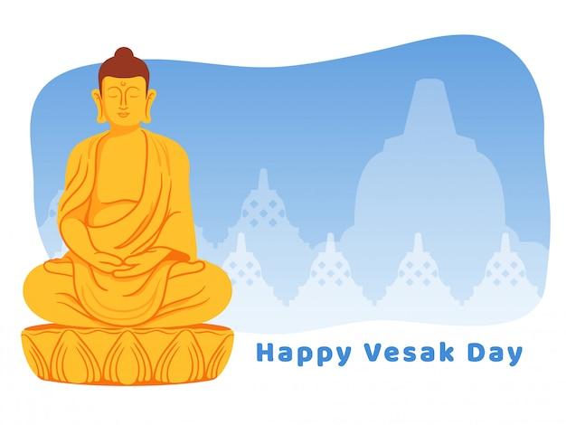 Boeddha mediteren voor de groet van de vesak-dag