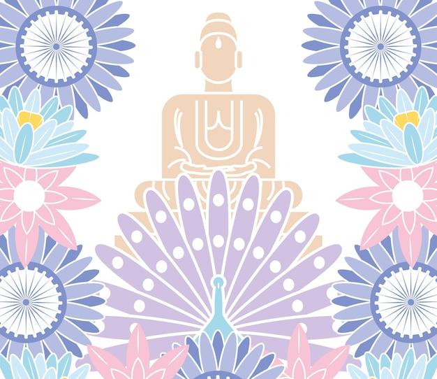 Boeddha pauw en bloemen
