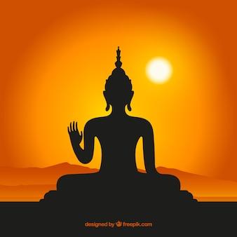 Boeddha silhouet achtergrond