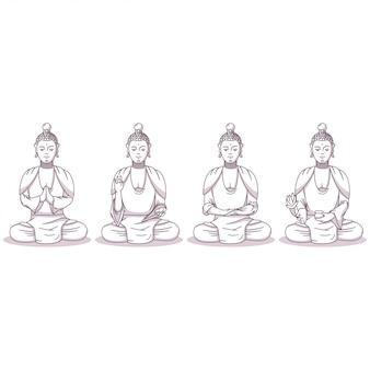 Boeddha vector stripfiguren set geïsoleerd op een witte achtergrond.