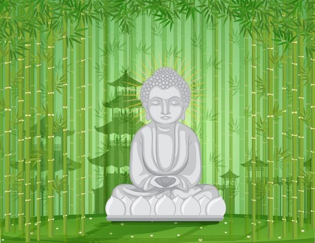 Boeddhabeeld in bamboebos