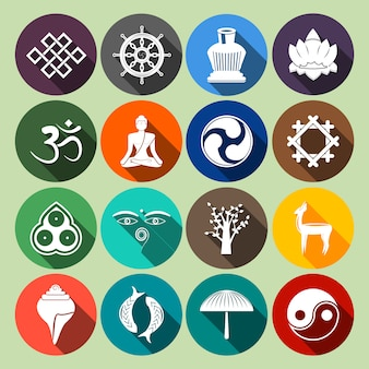 Boeddhisme icons set flat