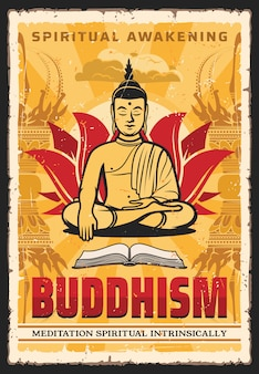 Boeddhisme religie, boeddha in lotus meditatie