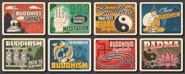 Boeddhisme religie en meditatie symbolen posters