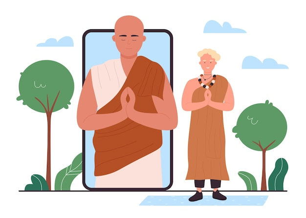 Boeddhisme religie service tijdens quarantaineconcept