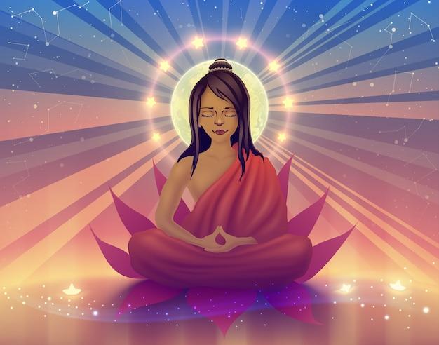 Boeddhistische leraar in oranje kleding zit in diepe meditatie en staat van samadhi
