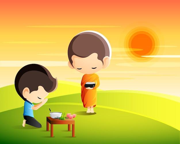 Boeddhistische monnik die een aalmoeskom in zijn handen houdt om 's ochtends voedselaanbod te ontvangen van de zittende man, maak verdienstenconcept
