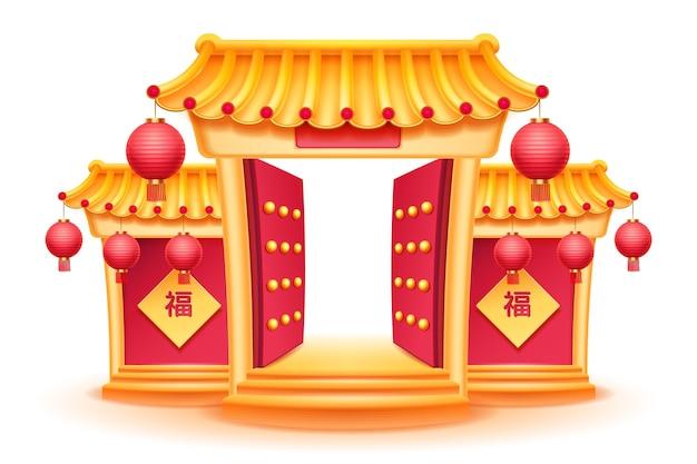 Boeddhistische tempel met geopende poorten en chinese kalligrafie