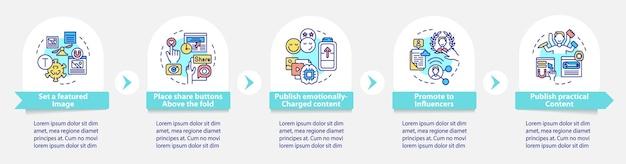 Boeiende content tips vector infographic sjabloon. deel knoppen presentatie schets ontwerpelementen. datavisualisatie in 5 stappen. proces tijdlijn info grafiek. workflowlay-out met lijnpictogrammen