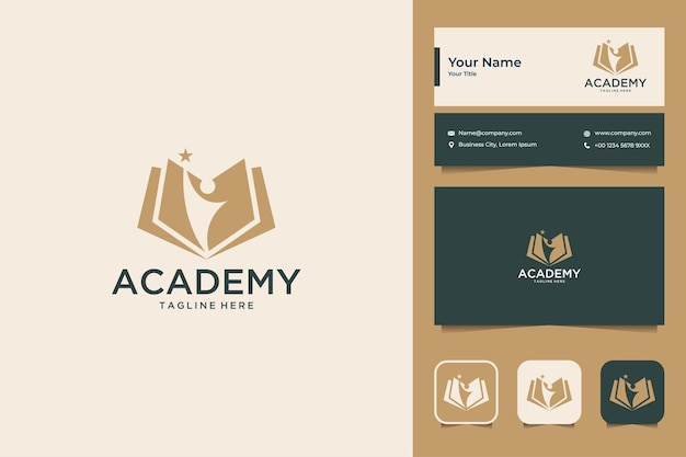 Boek academie onderwijs logo ontwerp en visitekaartje