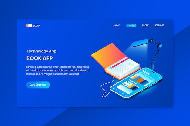 Boek app isometrische concept bestemmingspagina