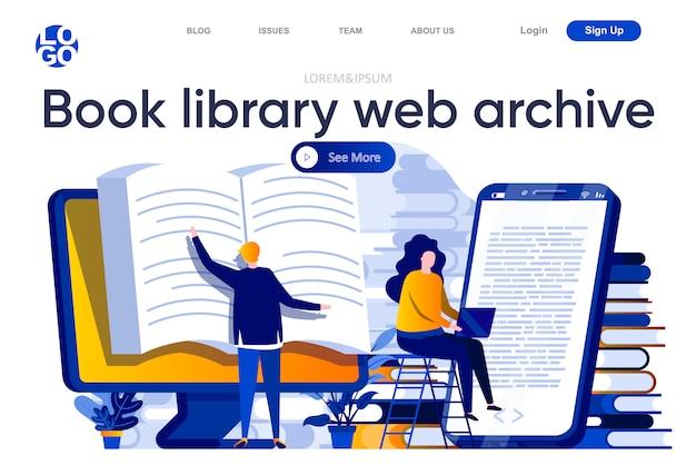Boek bibliotheek webarchief platte bestemmingspagina. studenten die online boeken lezen bij computer en op smartphoneillustratie. onderwijs op afstand en kennis webpagina samenstelling met mensen karakter