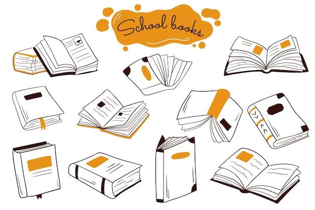 Boek doodle illustratie. open boeken, stapels, schetsset. school of universiteitsstudenten bibliotheek boek illustratie collectie.