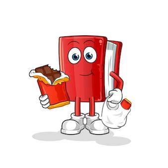 Boek eet chocolade mascotte. tekenfilm