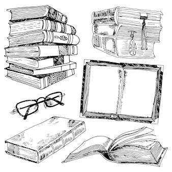 Boek en bril bibliotheek collectie zwarte schets decoratieve pictogrammen set geïsoleerde vector illustratie