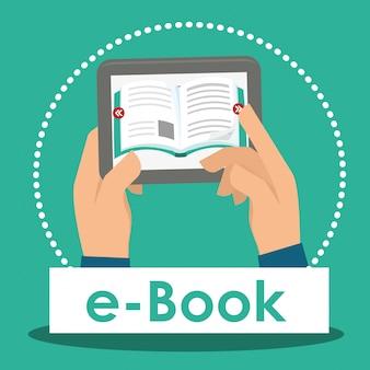Boek en e-learning iconen ontwerp
