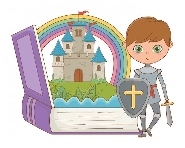 Boek en karakter van fairytale ontwerp vectorillustratie
