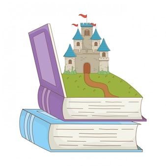 Boek en kasteel van sprookje ontwerp vectorillustratie