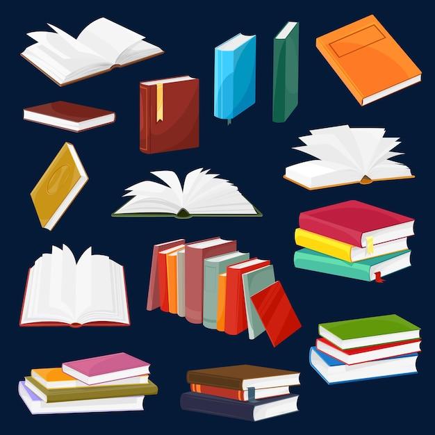 Boek en leerboek vector set met cartoon stapels of stapels open en gesloten boeken