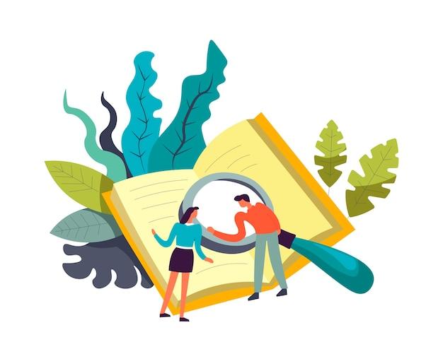 Boek en mensen die onderzoek doen met vergrootglas