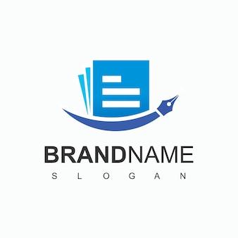 Boek en pen logo ontwerpsjabloon