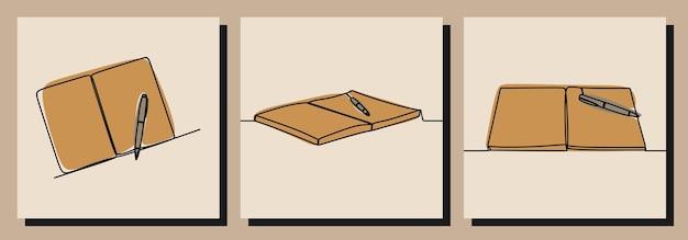 Boek en pen oneline doorlopende lijntekeningen premium vector