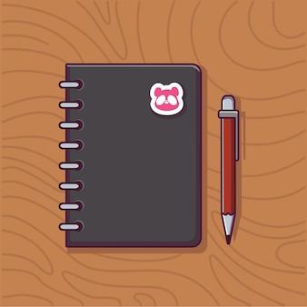 Boek en pen pictogram illustratie onderwijs en school object pictogram concept boek en pen cartoon