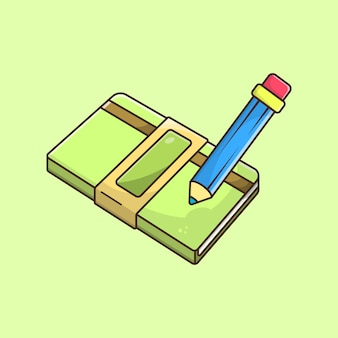 Boek en potlood vectorillustratie