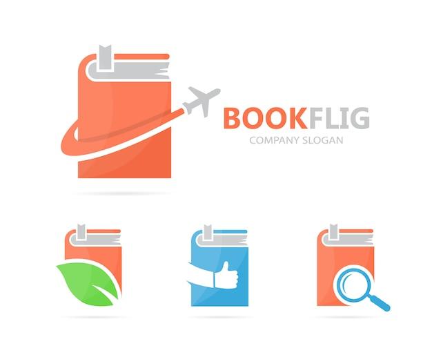 Boek en vliegtuig logo set.