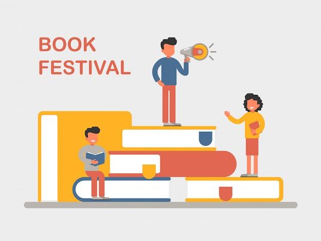 Boek festivalaffiche met klein karakter dat een boek leest