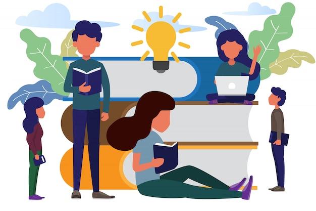 Boek festivalconcept en mensen die het boek lezen.