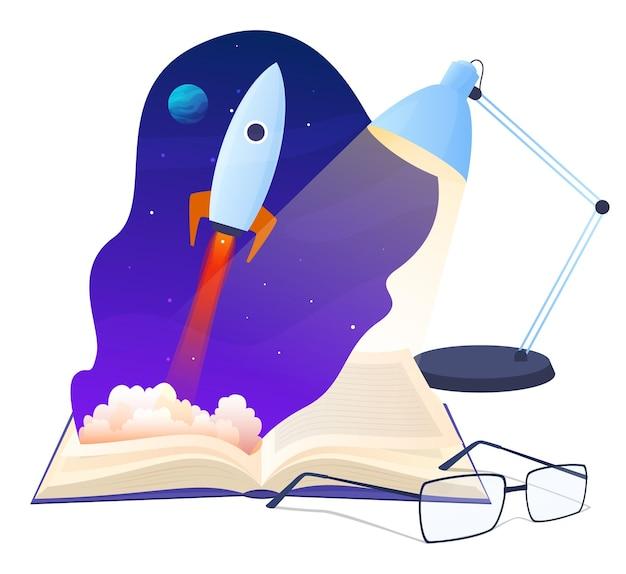 Boek. fictieve verhalen. rust met een boek. de raket stijgt op. vector illustratie