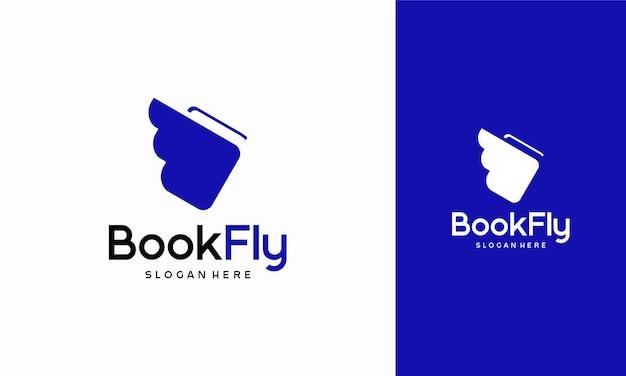 Boek fly logo ontwerpen concept vector, boek onderwijs logo icon
