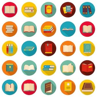 Boek geplaatste pictogrammen, vlakke stijl