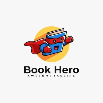 Boek held cartoon logo ontwerp