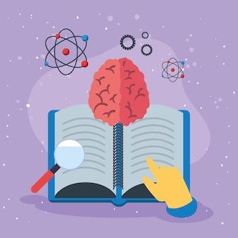 Boek hersenen en onderwijs pictogrammen