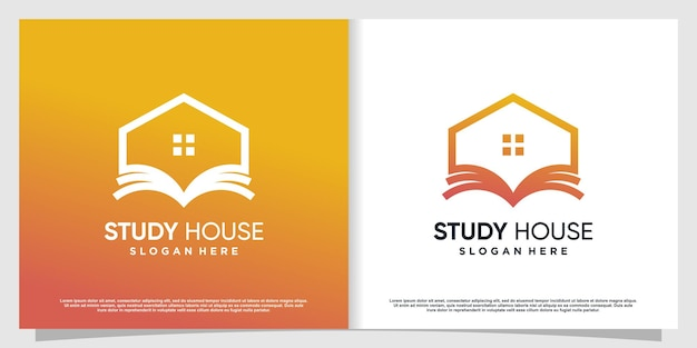 Boek huislogo met modern concept premium vector