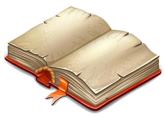 Boek in cartoon-stijl met oude vellen rijstpapier.