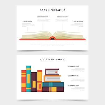 Boek infographics plat ontwerp
