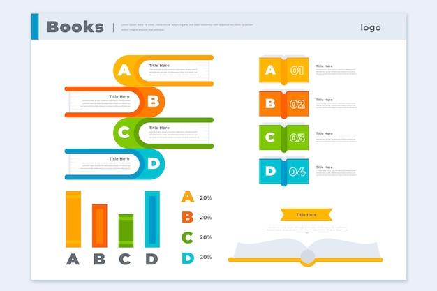 Boek infographics sjabloon