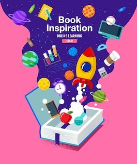 Boek inspiratie platte ontwerp illustratie