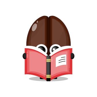 Boek koffiebonen schattig karakter mascotte