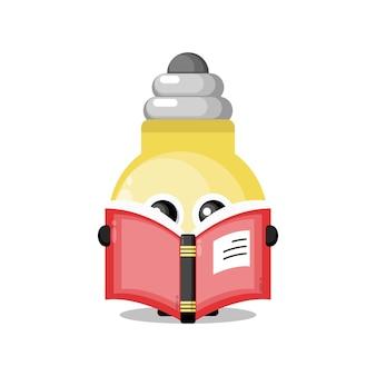 Boek leeslamp schattig karakter mascotte