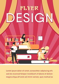 Boek lezers concept. mensen zitten op stapel boeken in de bibliotheek, vrouwen lezen van schoolboeken thuis, studenten huiswerkonderzoek. flyer-sjabloon